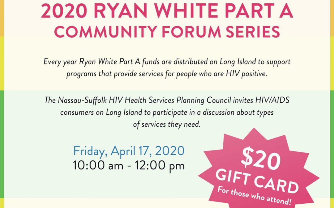 2020 Ryan White Community Forum Series, April 17th
